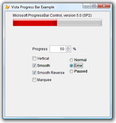 Ulubieniec wszystkich - Windows Vista. Pasków jest parę, powyżej pasek czerwony - występujący gdy zajdzie jakiś błąd.